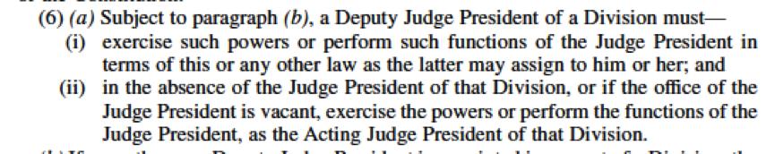 Deputy Judge President duties